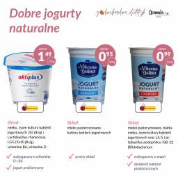 na zdjęciu trzy dobre jogurty naturalne: aktiplus jogurt naturalny z biedronki mleczna dolina, jogurt naturalny z wapniem z biedronki